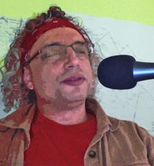 Eric Francis in kitchen podcasting studio.