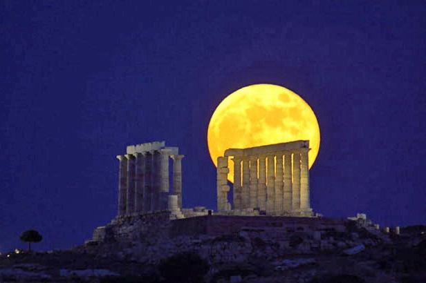Full Moon at Sounion, photo by Anthony Ayiomamitis.