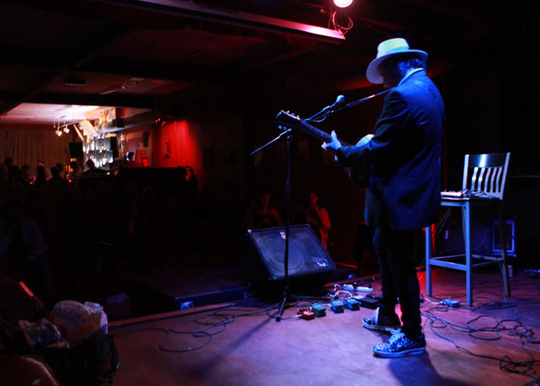 Gary Lucas as seen from backstage at Backstage Studio Productions in Kingston, New York this past summer as part of the Kingston Film Festival. Photo by Eric Francis.