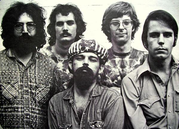 Original lineup of The Grateful Dead: from left, Jerry, Bill, Pigpen, Phil, Bob.